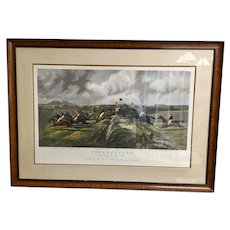 Antique Irish Racing Aquatint by Edward Hester  29x40 Inches