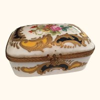 "Continental Floral Gilt Box  4"" Long"