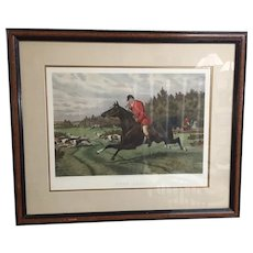 Antique English Fox Hunt Aquatint after Sheldon Williams  27""