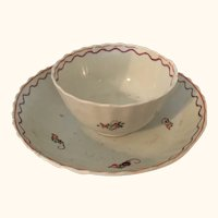 "18th Century Porcelain Tea Bowl and Saucer  5  1/2"" diameter"