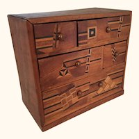 "Small Parquetry Five drawer Chest 7 1/2"" tall"