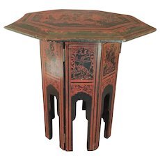"Antique Folding Lacquered  Side Table  15"" diameter"