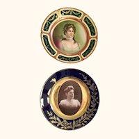 "Pair of Vienna Portrait Plates 9  1/2"" diameter"