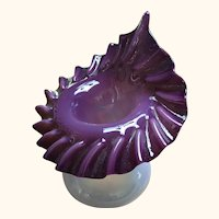 "Antique Amethyst Opalescent Glass Jack In The Pulpit Vase 7"" H"