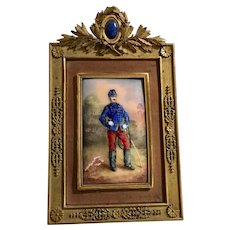 Portrait of a Grenadier in a Miniature Gilt Bronze Frame