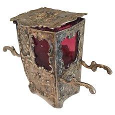 """Rare Antique Miniature Sedan Chair as a Salt Container 2  3/4"""" H"""