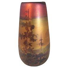 "Weller Lasa Art Pottery Vase with a Forrest scene 5  1/4"" high"