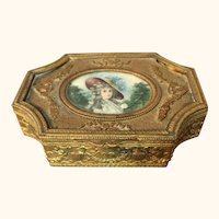 """French Bronze and Metal Portrait Dresser Box 4  1/4"""" wide"""