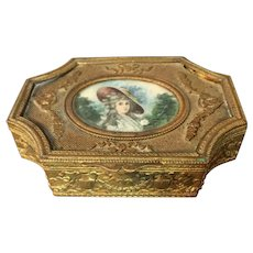 "French Bronze and Metal Portrait Dresser Box 4  1/4"" wide"