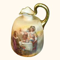 """Miniature Ewer Or Pitcher with a Tavern Scene   3"""" High"""