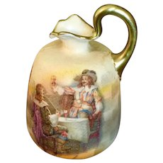 "Miniature Ewer Or Pitcher with a Tavern Scene   3"" High"