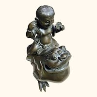 """Happy Boy astride a Bronze Frog Like Creature  6 """" High"""