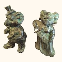 "Rare Anthropomorphic Bronze Sculpture Couple  5  1/4 "" tall"