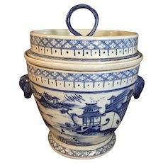 "Large Blue & White Porcelain  Ice Box from China 14"" H"