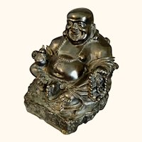 """Old  Bronze Laughing Happy Buddha Signed   7  1/4"""" H"""