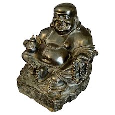 "Old  Bronze Laughing Happy Buddha Signed   7  1/4"" H"