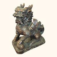 """Bronze Foo Lion Dog  Paperweight  5 """" High"""