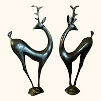 Deco Modernist Style Bronze Deer 17 inches Tall