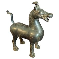 "Archaistic Style Metal Horse  10"" Tall"