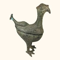 "Archaistic Bird Like Covered Box in Bronze  11 "" Tall"