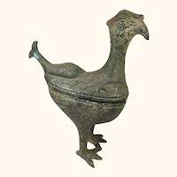 "Archaistic Bird Like Covered Box  Bronze Sculptor  11 "" Tall"