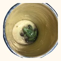 "19th C Ceramic Frog Mug with Grapes 4"" tall"