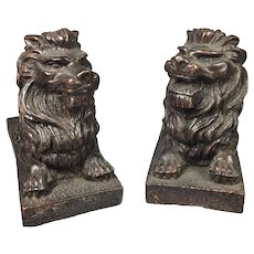 "Miniature Bronze Lion Bookends or Artifacts   3   1/4"" high"