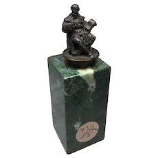 "Miniature Bronze Sculpture on Marble Column  1  3/4"" tall"