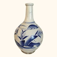 """Antique Asian Blue and White Vase  10  1/4"""" tall"""