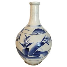 "Antique Asian Blue and White Vase  10  1/4"" tall"