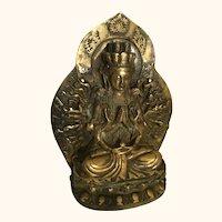 """Antique Asian Gilt Bronze Buddha 6 """" tall"""