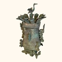 "Bronze Archaistic Hu Shou-Style Vessel from China 10"" Tall"