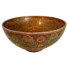 """Large Russian Bowl Hand Lacquered and decorated 14"""" Diameter"""