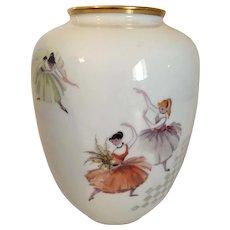 Rosenthal Porcelain Ballet Dancer Vase 8  1/2 Inches tall