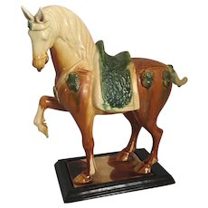 "Tang Style Sancai Glazed Pottery Horse  12  1/2"" inches tall"