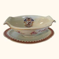 """Chinese Porcelain Armorial Sauce Boat 9 """" long"""
