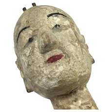 "Antique Chinese Wood Hand Puppet 12"" Long"