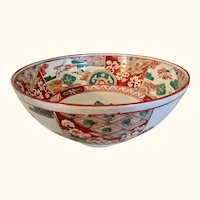 "Japanese Imari Style Porcelain Bowl Signed  12"" diameter"