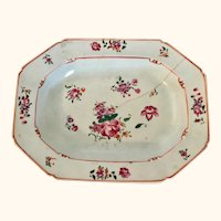 "18th Century Chinese Export Enameled Platter/Plate  15"" Long"