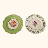 "Pr Royal Crown Derby Floral Plates 8  1/2"" diameter"