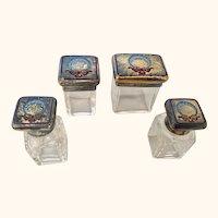 "Antique English Miniature Crystal Dresser Jars /Bottles Circa 1910  2"" Tall"