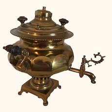 "Antique Brass Russian Samovar Signed  13"" tall"