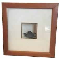 "Miniature  Chinese Yixing Tea Pot Framed  8"" square frame"