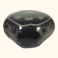 """19th Century Chinese Papier Mache Lacquered Box  7"""" x 7"""""""