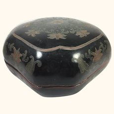 "19th Century Chinese Papier Mache Lacquered Box  7"" x 7"""