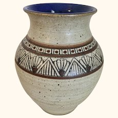 Polychrome Jar with Cobalt Interior