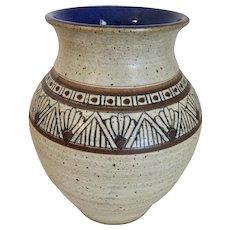 Polychrome Native American Jar with Cobalt Interior