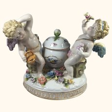 "Meissen Style Cherubs with Covered Bowl 8"" high"