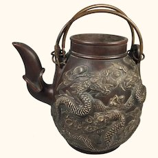 Dragons and Pearls Chinese Ceramic Tea Pot 7 1/4 : High