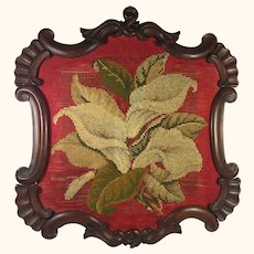 Framed Calla lilly Wool Embroidery/Tapestry Screen Part